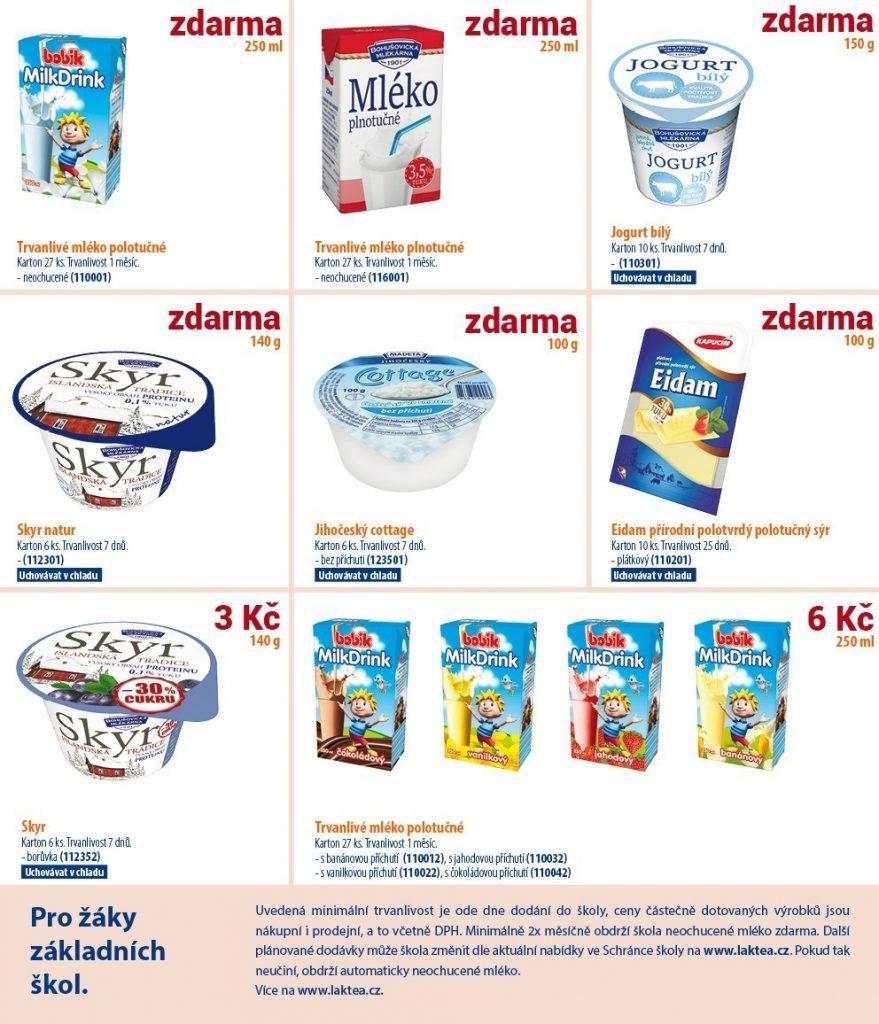 plakát s nabídkou jogurtů